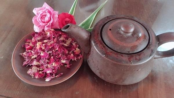 Bạn có thể hãm cánh hoa hồng khô như hãm trà xanh